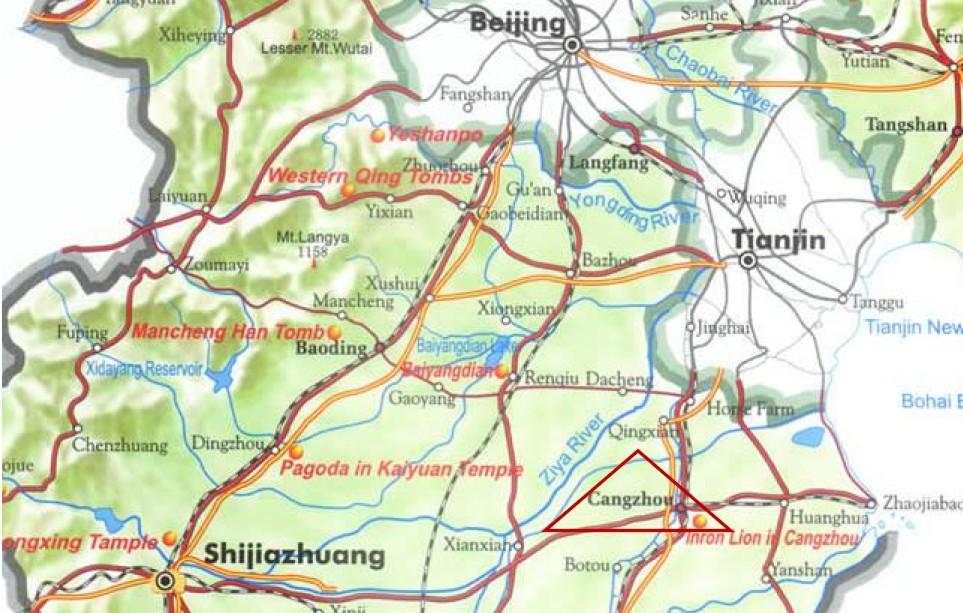 Położenie Cangzhou na mapie Chin - na południe od Pekinu i Tianjin