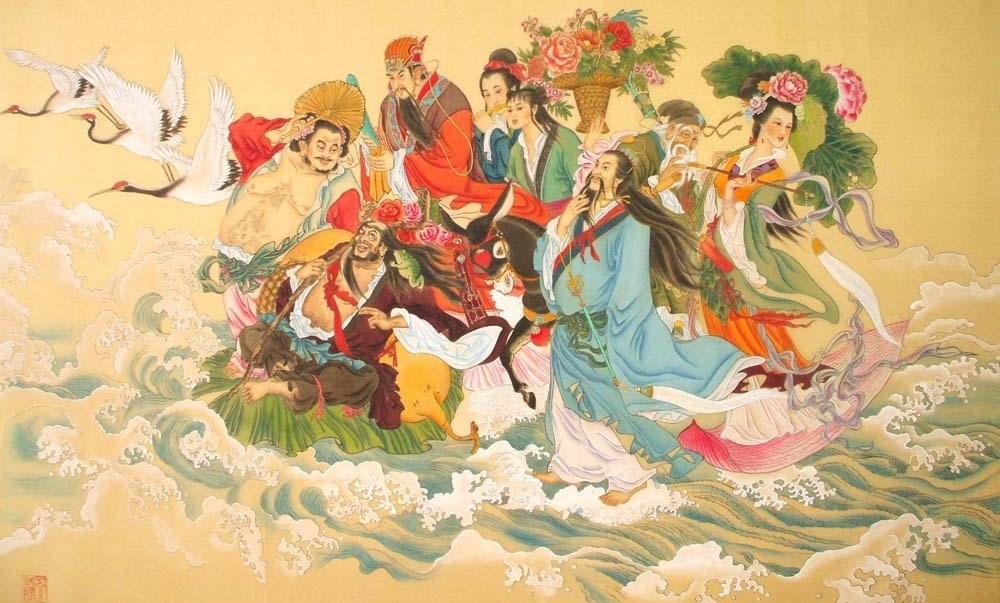 Ośmiu Pijanych Nieśmiertelnych podróżujących przez morze